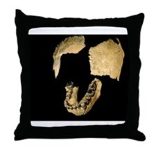 Skull bones of Homo habilis Throw Pillow