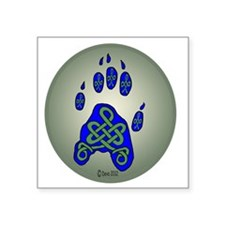 "Celtic Paw Print Square Sticker 3"" x 3"""
