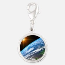Earth, artwork Silver Round Charm