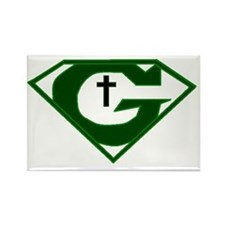 GOD POWERED SHEILD green Rectangle Magnet