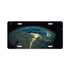 North Africa at night, ISS  Aluminum License Plate