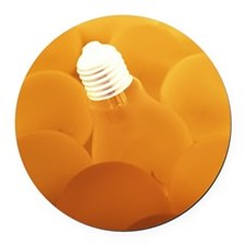 Electric light bulbs Round Car Magnet