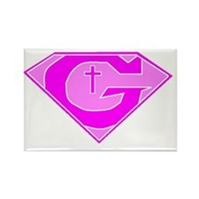 GOD POWERED SHEILD Pink Rectangle Magnet