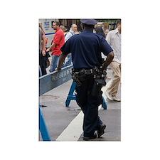 New York policeman leaning on bar Rectangle Magnet