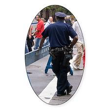 New York policeman leaning on barri Decal