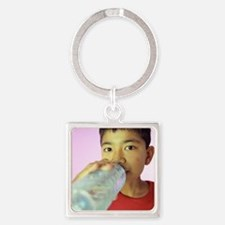 Drinking water Square Keychain
