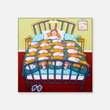 """Cat Quilt Shower Curtain Square Sticker 3"""" x 3"""""""