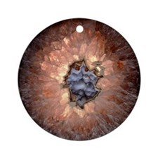 Section of quartz crystal geode Round Ornament
