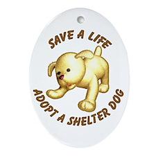 Shelter Dog Oval Ornament