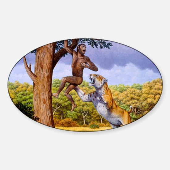 Scimitar cat attacking a hominid Sticker (Oval)