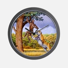 Scimitar cat attacking a hominid Wall Clock