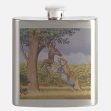 Scimitar cat attacking a hominid Flask