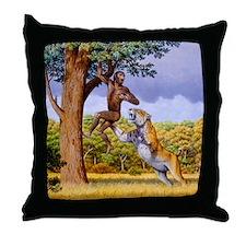 Scimitar cat attacking a hominid Throw Pillow