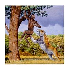 Scimitar cat attacking a hominid Tile Coaster