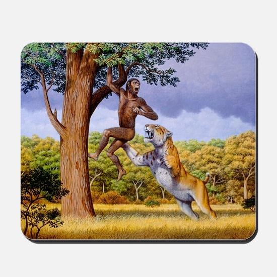 Scimitar cat attacking a hominid Mousepad