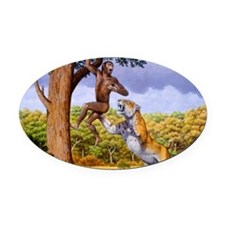 Scimitar cat attacking a hominid Oval Car Magnet