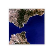 "Satellite image of the Stra Square Sticker 3"" x 3"""