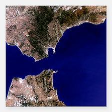 "Satellite image of the S Square Car Magnet 3"" x 3"""