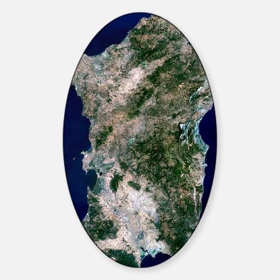 Sardinia, satellite image Sticker (Oval)