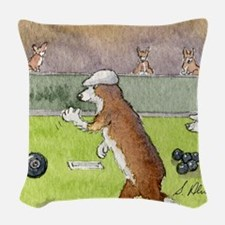 Bowls on the green Woven Throw Pillow