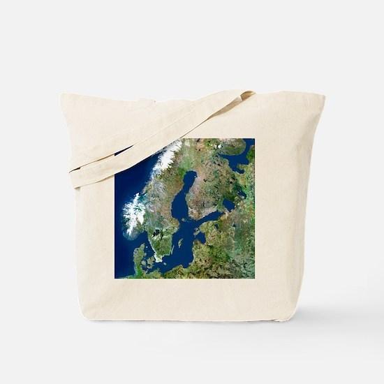 Scandinavia, satellite image Tote Bag
