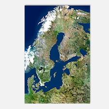Scandinavia, satellite im Postcards (Package of 8)