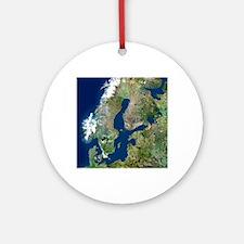 Scandinavia, satellite image Round Ornament
