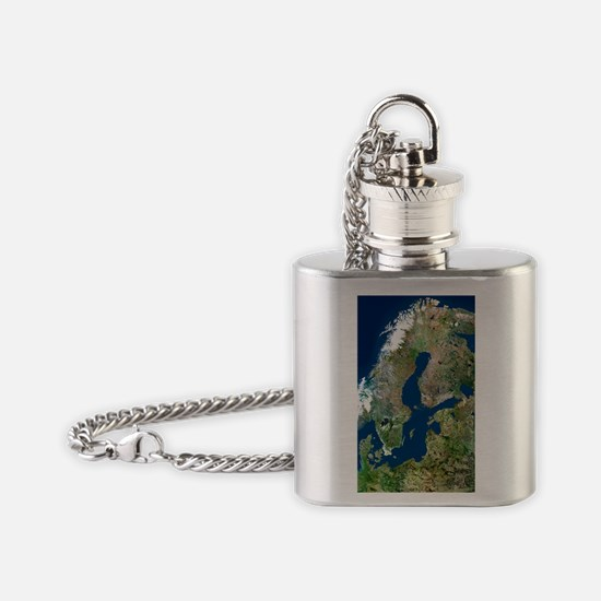 Scandinavia, satellite image Flask Necklace