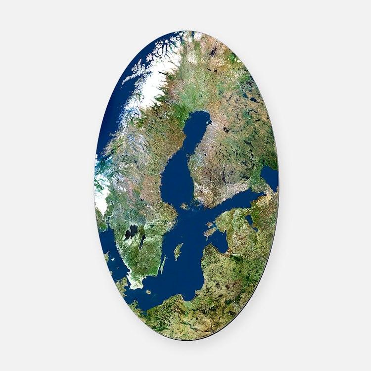 Scandinavia, satellite image Oval Car Magnet
