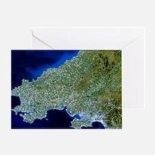 Satellite image of southwest Wales Greeting Card