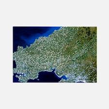 Satellite image of southwest Wale Rectangle Magnet