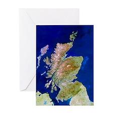 Satellite image of Scotland Greeting Card