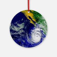 Satellite image of Hurricane Nora o Round Ornament