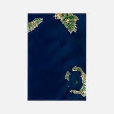 Santorini volcano, satellite imag Rectangle Magnet