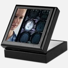 Doctor studying an MRI scan Keepsake Box