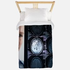 Doctor studying an MRI scan Twin Duvet