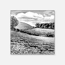"Rural landscape, woodcut Square Sticker 3"" x 3"""