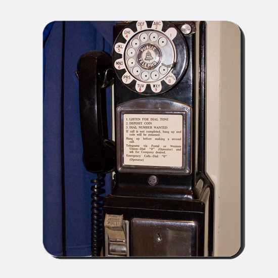 Rotary-dial telephone with coinbox Mousepad