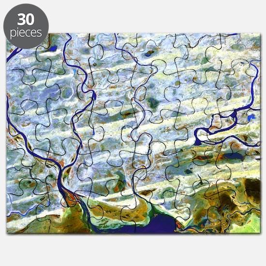 Saharan desert rivers, satellite image Puzzle
