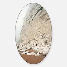 Rock fall at chalk cliffs Sticker (Oval)