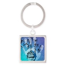 Rock painting Square Keychain