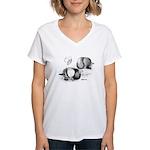 Marchenero Pouter Pigeons Women's V-Neck T-Shirt
