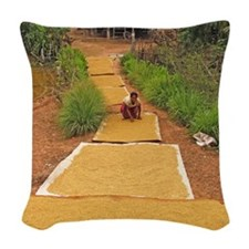 Rice grains drying Woven Throw Pillow