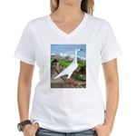 Polish Srebrniak Pigeon Women's V-Neck T-Shirt