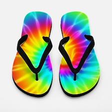 Retro Tie Dye Effect Groovy Flip Flops