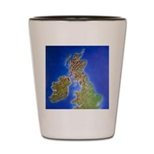 Relief map of the United Kingdom and Ei Shot Glass