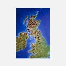 Relief map of the United Kingdom  Rectangle Magnet