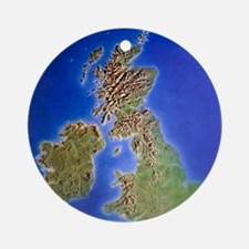 Relief map of the United Kingdom an Round Ornament