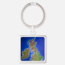 Relief map of the United Kingdom a Square Keychain