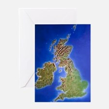 Relief map of the United Kingdom and Greeting Card